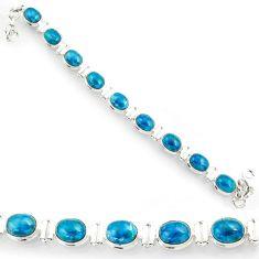 Clearance Sale- 39.29cts natural blue apatite (madagascar) 925 silver tennis bracelet d44353