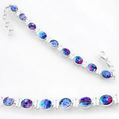23.87cts natural blue doublet opal australian 925 silver bracelet r71628