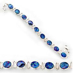 31.50cts natural blue doublet opal australian 925 silver tennis bracelet r27523