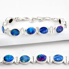 20.20cts natural blue doublet opal australian 925 silver tennis bracelet r38963