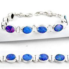 19.17cts natural blue doublet opal australian 925 silver tennis bracelet r38965
