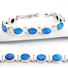 19.15cts natural blue doublet opal australian 925 silver tennis bracelet r38966