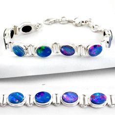20.27cts natural blue doublet opal australian 925 silver tennis bracelet r38967