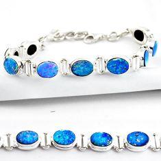 19.96cts natural blue doublet opal australian 925 silver tennis bracelet r38968