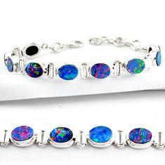 20.27cts natural blue doublet opal australian 925 silver tennis bracelet r38970