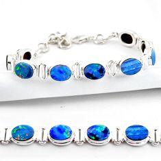 19.96cts natural blue doublet opal australian 925 silver tennis bracelet r38971