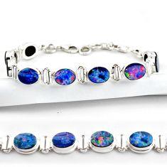 20.54cts natural blue doublet opal australian 925 silver tennis bracelet r38972