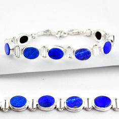 20.55cts natural blue doublet opal australian 925 silver tennis bracelet r38973