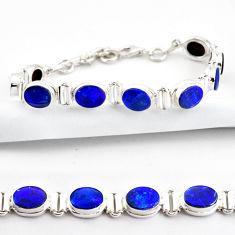 20.51cts natural blue doublet opal australian 925 silver tennis bracelet r38975