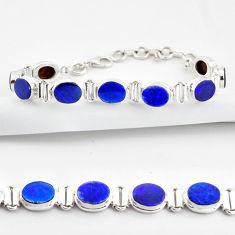20.22cts natural blue doublet opal australian 925 silver tennis bracelet r38976