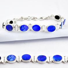 20.47cts natural blue doublet opal australian 925 silver tennis bracelet r38977