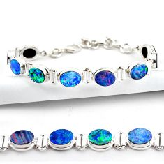 19.96cts natural blue doublet opal australian 925 silver tennis bracelet r38979