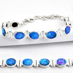20.23cts natural blue doublet opal australian 925 silver tennis bracelet r38980