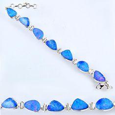 32.87cts natural blue doublet opal australian 925 silver tennis bracelet r56543