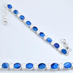 19.59cts natural blue doublet opal australian 925 silver tennis bracelet r60937