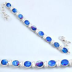 19.29cts natural blue doublet opal australian 925 silver tennis bracelet r60939