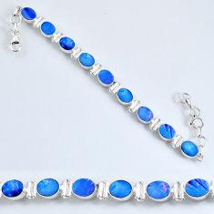 19.53cts natural blue doublet opal australian 925 silver tennis bracelet r60940