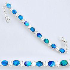 19.89cts natural blue doublet opal australian 925 silver tennis bracelet r61766