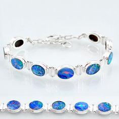 24.60cts natural blue doublet opal australian 925 silver tennis bracelet t4163
