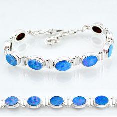 24.97cts natural blue doublet opal australian 925 silver tennis bracelet t4165