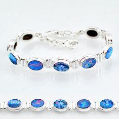 24.19cts natural blue doublet opal australian 925 silver tennis bracelet t4166
