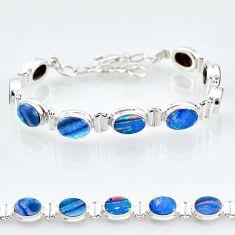 24.87cts natural blue doublet opal australian 925 silver tennis bracelet t4167