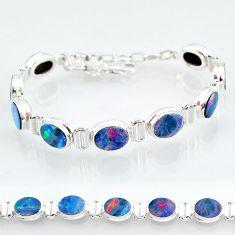 24.53cts natural blue doublet opal australian 925 silver tennis bracelet t4168