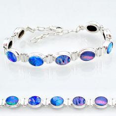 24.58cts natural blue doublet opal australian 925 silver tennis bracelet t4170