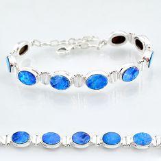 24.62cts natural blue doublet opal australian 925 silver tennis bracelet t4171