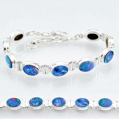 24.63cts natural blue doublet opal australian 925 silver tennis bracelet t4173