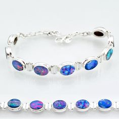 24.19cts natural blue doublet opal australian 925 silver tennis bracelet t4174