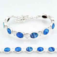 25.21cts natural blue doublet opal australian 925 silver tennis bracelet t4176