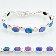 24.87cts natural blue doublet opal australian 925 silver tennis bracelet t4177