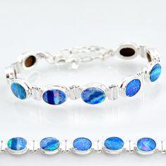 24.34cts natural blue doublet opal australian 925 silver tennis bracelet t4178