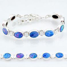 24.87cts natural blue doublet opal australian 925 silver tennis bracelet t4180