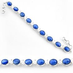 39.20cts natural blue kyanite 925 sterling silver tennis bracelet jewelry r72988