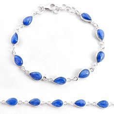 18.12cts natural blue kyanite 925 sterling silver tennis bracelet jewelry t2481