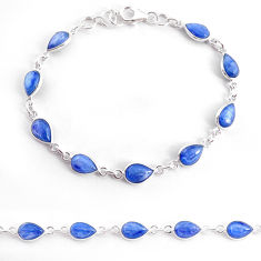 18.68cts natural blue kyanite 925 sterling silver tennis bracelet jewelry t2564