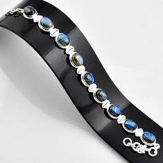 37.99cts natural blue labradorite 925 sterling silver bracelet jewelry r44336