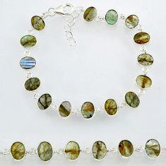 19.79cts natural blue labradorite 925 sterling silver bracelet jewelry r88290