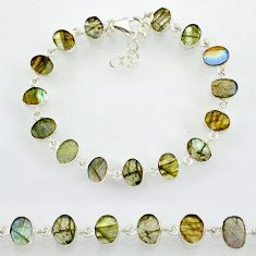 19.98cts natural blue labradorite 925 sterling silver bracelet jewelry r88294
