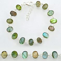 22.84cts natural blue labradorite 925 sterling silver bracelet jewelry r88295