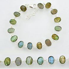 23.88cts natural blue labradorite 925 sterling silver bracelet jewelry r88296