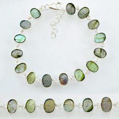 22.94cts natural blue labradorite 925 sterling silver bracelet jewelry r88297