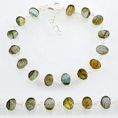 18.70cts natural blue labradorite 925 sterling silver bracelet jewelry r88299