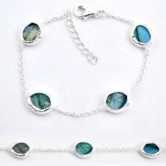 14.70cts natural blue labradorite 925 sterling silver bracelet jewelry t7652