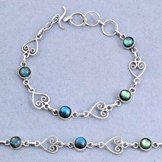 10.00cts natural blue labradorite 925 sterling silver bracelet jewelry t8472