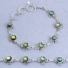 15.37cts natural blue labradorite 925 sterling silver bracelet jewelry t8475