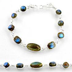 Clearance Sale- 21.30cts natural blue labradorite 925 sterling silver tennis bracelet d44281