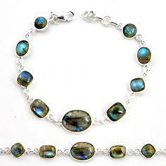 29.09cts natural blue labradorite 925 sterling silver tennis bracelet r36641